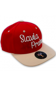 Red and Beige Snapback Cap